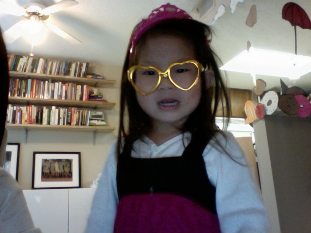 """Roenne comes out of her room in this get up, all of her musical toys and says, """"i'm the grandma."""" what could be going through that crazy brain of hers?"""