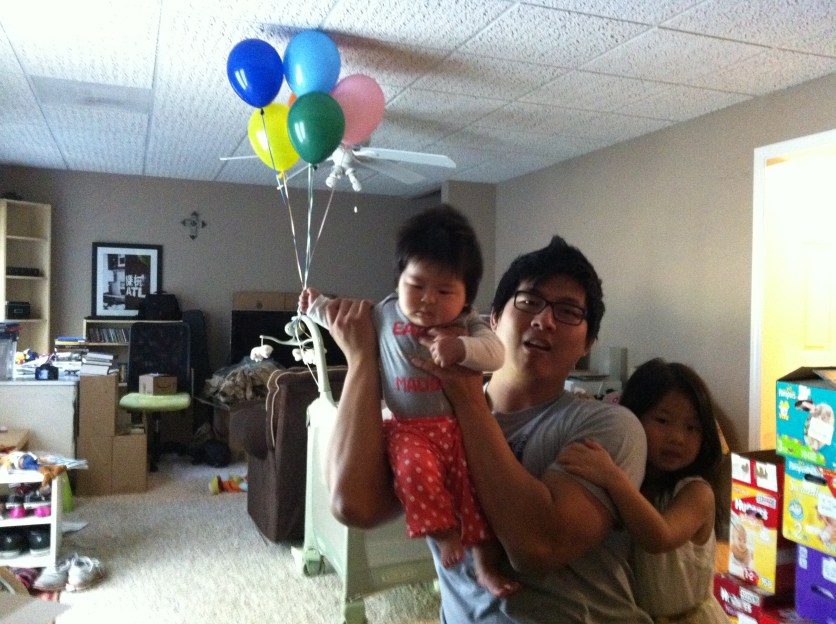 Up, up and away! Belated birthday balloon fun! I wonder if 29 balloons could actually get Arden off the ground :)