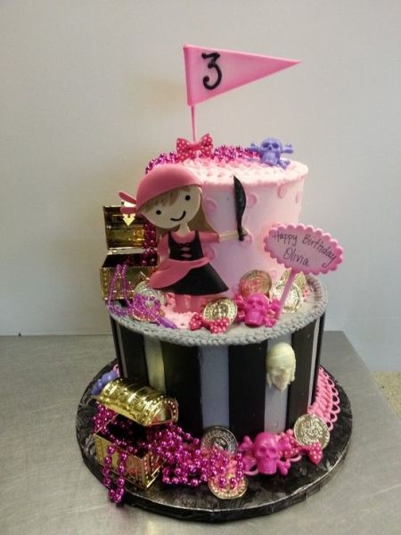 Pink Girl's Pirate Cake