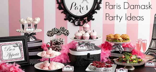 Paris Themed Birthday Party, paris birthday party ideas, paris damask party supplies, pink birthday party, ideas for a paris themed party