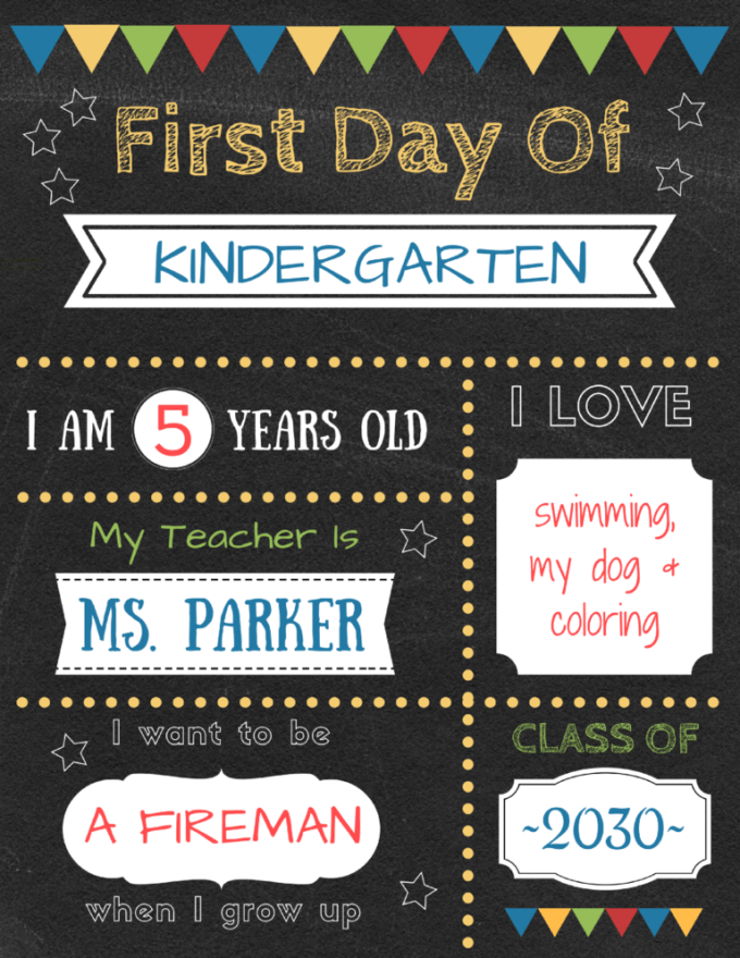 I love hopping on Facebook the first day of school and seeing all of my friends' kids with their first day of school signs. Some are made with a chalkboard, some are purchased and some are super quick, easy and economical like these printable first day of school signs from Planes and Balloons.