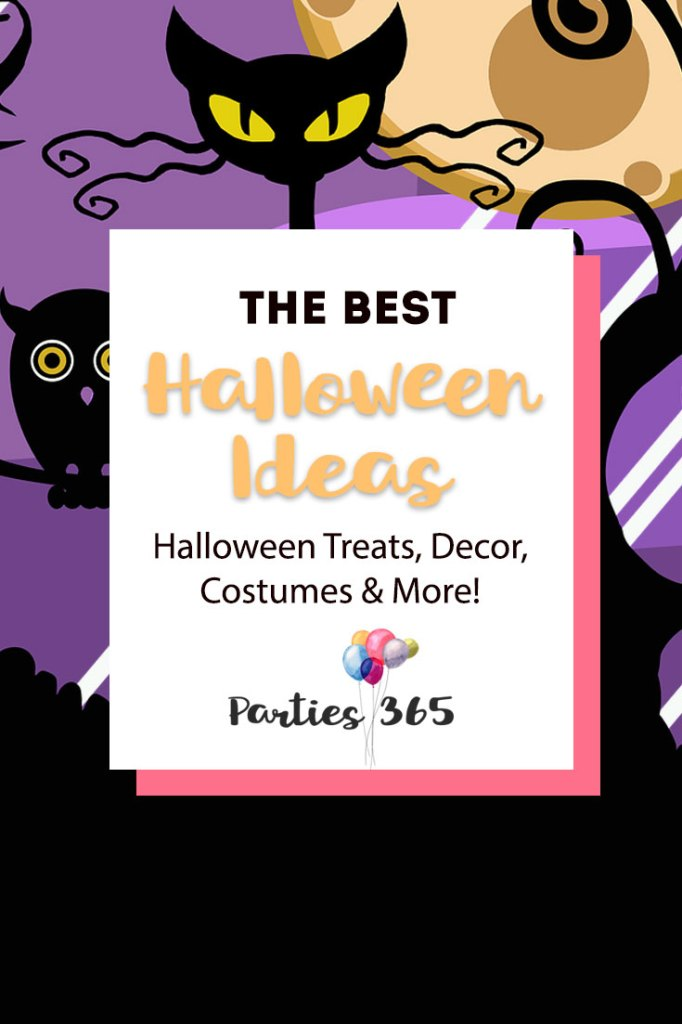 The ultimate guide of Parties 365 Halloween posts! We've put all of our best Halloween Ideas together in one easy place to find. Find everything you need for your best Halloween - Halloween treats, decor, costumes and more! | Halloween Ideas | Halloween Costumes | Halloween Decor