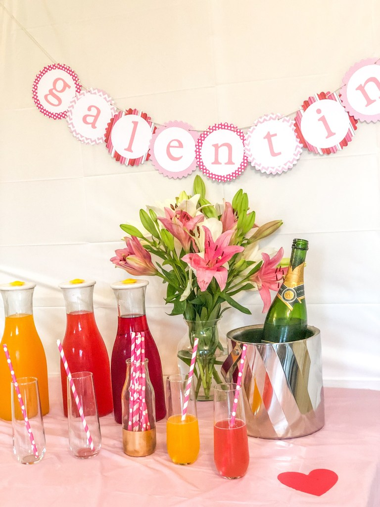 Galentine's Day Brunch Party Decorations and Food