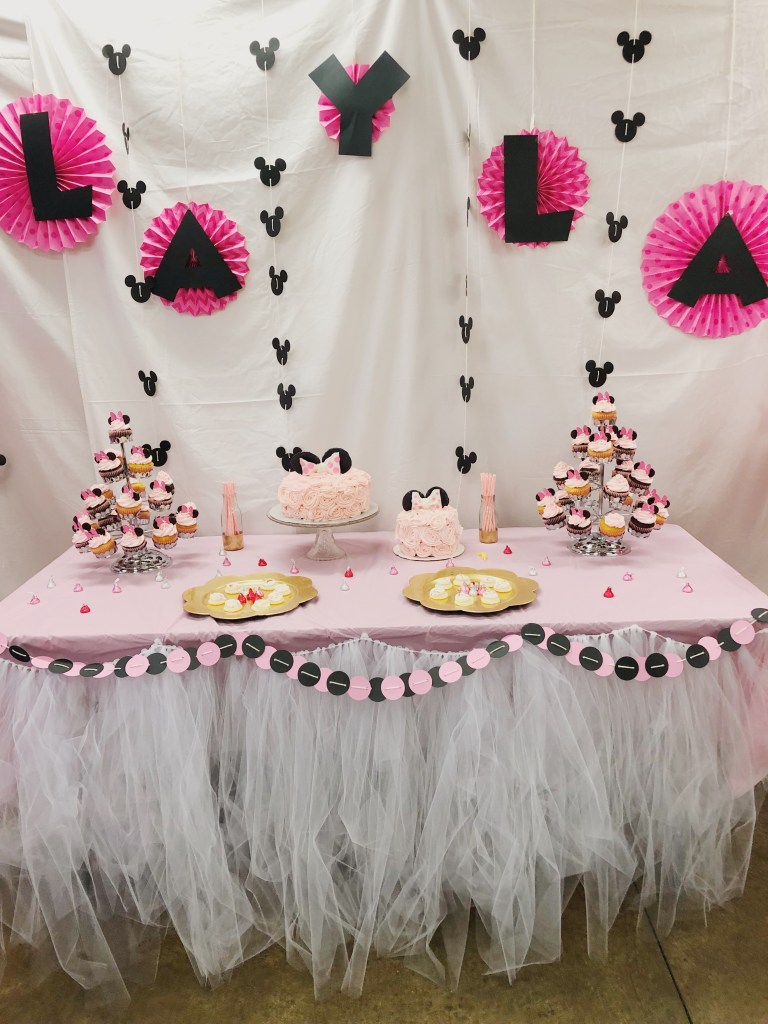 DIY 1st Birthday Pink Minnie Mouse Party Decorations And Cake Backdrop Dessert Table Setup