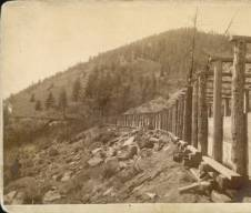 An early use of water: a flume diversion for hydraulic gold mining, Leadville, late 19th century. image courtesy Denver Public Library Western History & Genealogy Dept.