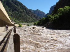 One of Colorado's great recreation spots: Glenwood Canyon, a natural whitewater course flanked by a bicycle path. Much of the water that would flow through the canyon is instead sent east to the thirsty Front Range. Image courtesy Life on the Hilltop
