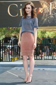 Effortlessly chic at a meet an greet at the Americana for City of Bones