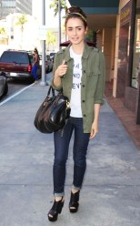 Graphic tee with a olive cargo jacket and blue jeans... simple and effortless