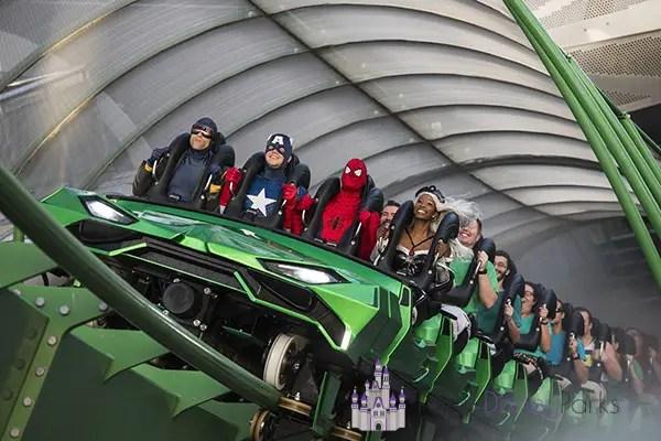 Personagens da Marvel na montanha russa do Hulk