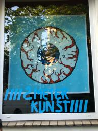 Museums and galleries were closed in Bremen. Smart artists came up with the idea of hanging their works in shop windows. The shop owner receives a 20% commission on the sale. Germany, Bremen, (Photo Klaara Teetz)