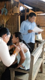 4.25 - Champasack prov. 2 - woman getting her vaccine