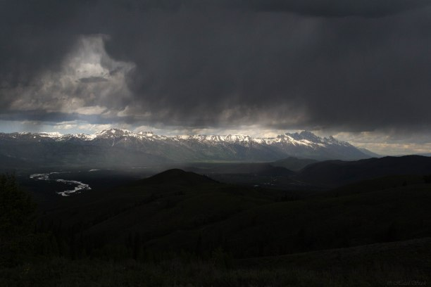 An afternoon thunderstorm over Grand Teton National Park