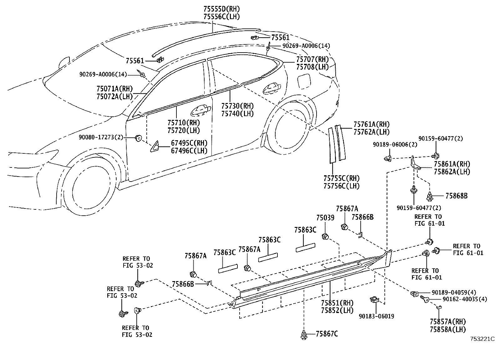 Lexus Es 350 Moulding Assembly Rear Door Belt Right