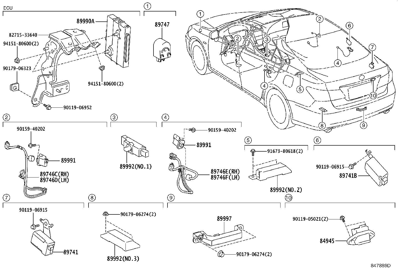 Lexus Es 350 Harness Electrical Key Wire No 2 Wireless