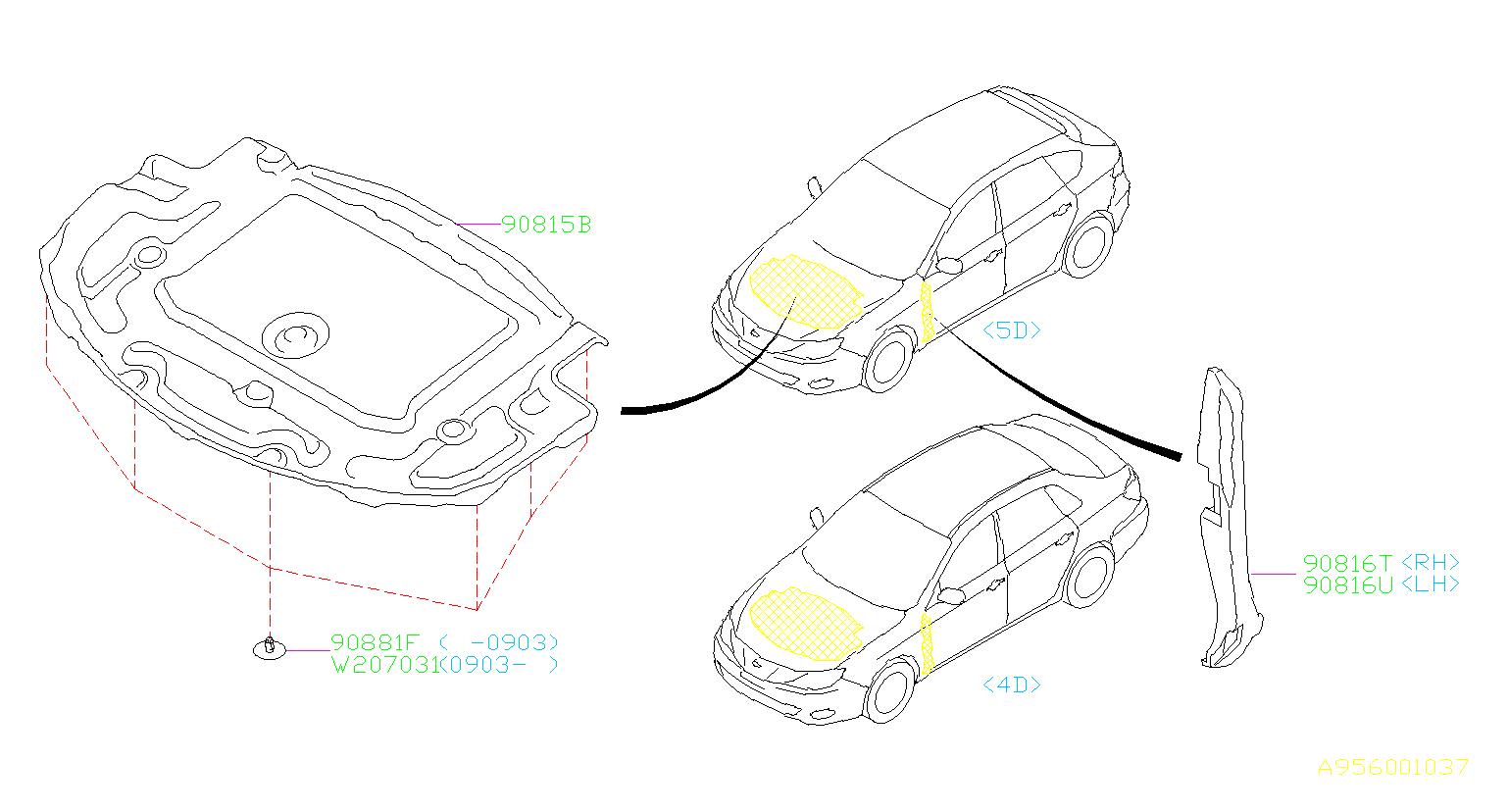 Subaru Impreza Insulator Front Hood Interior