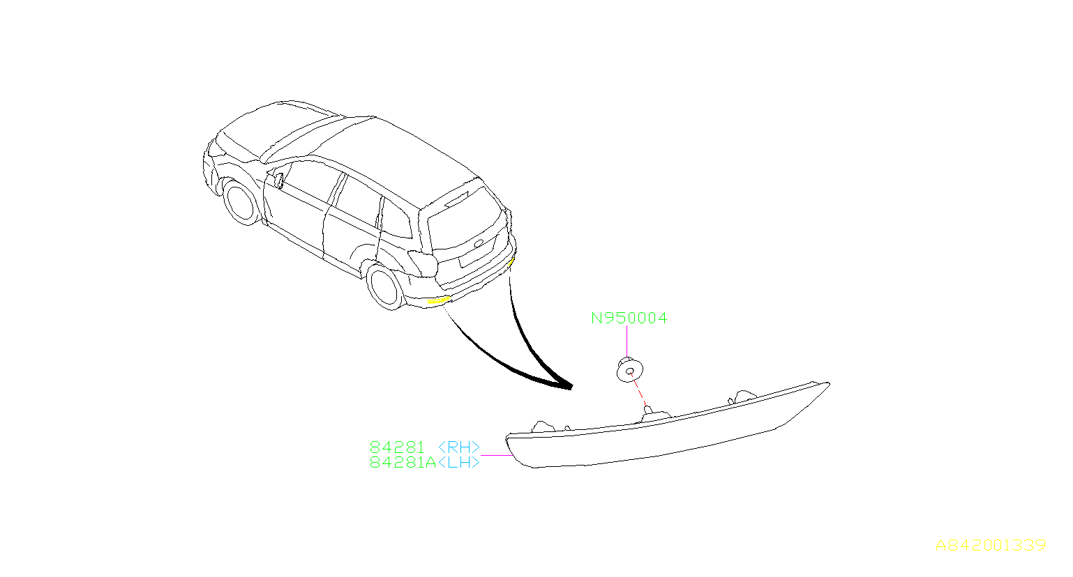 Subaru Forester Reflector Panel Right Reflex Reflector