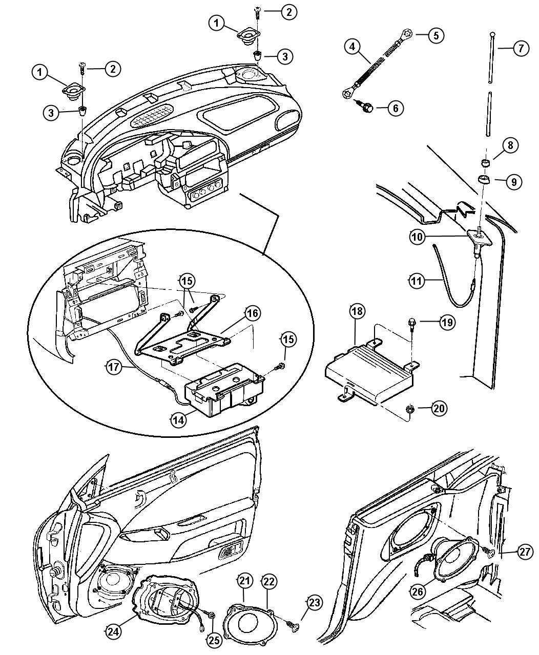 Chrysler Sebring Amplifier Radio Speakers Antenna