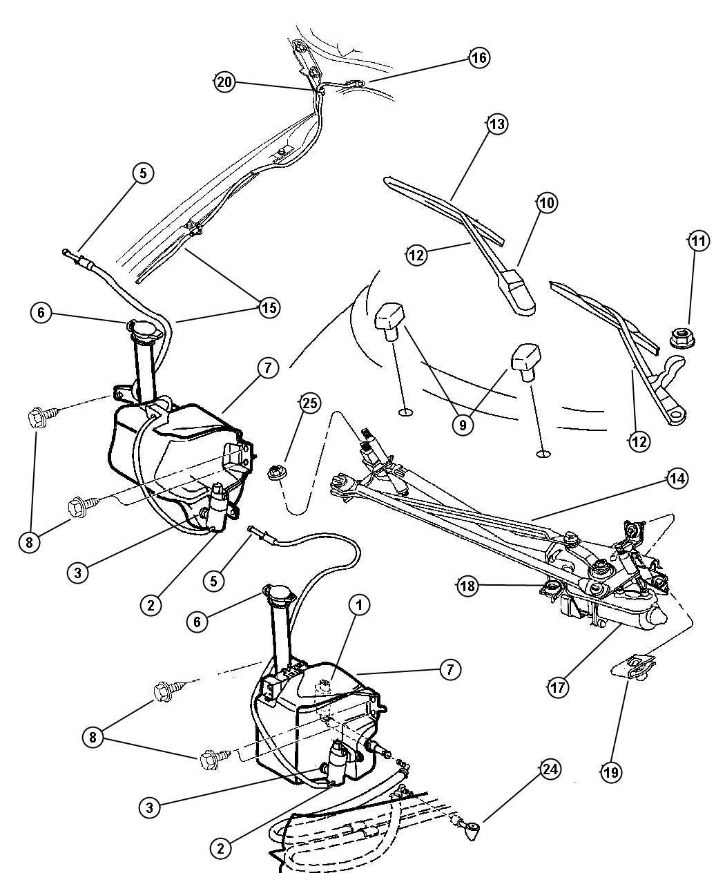 Chrysler Cirrus Grommet Windshield Washer Pump