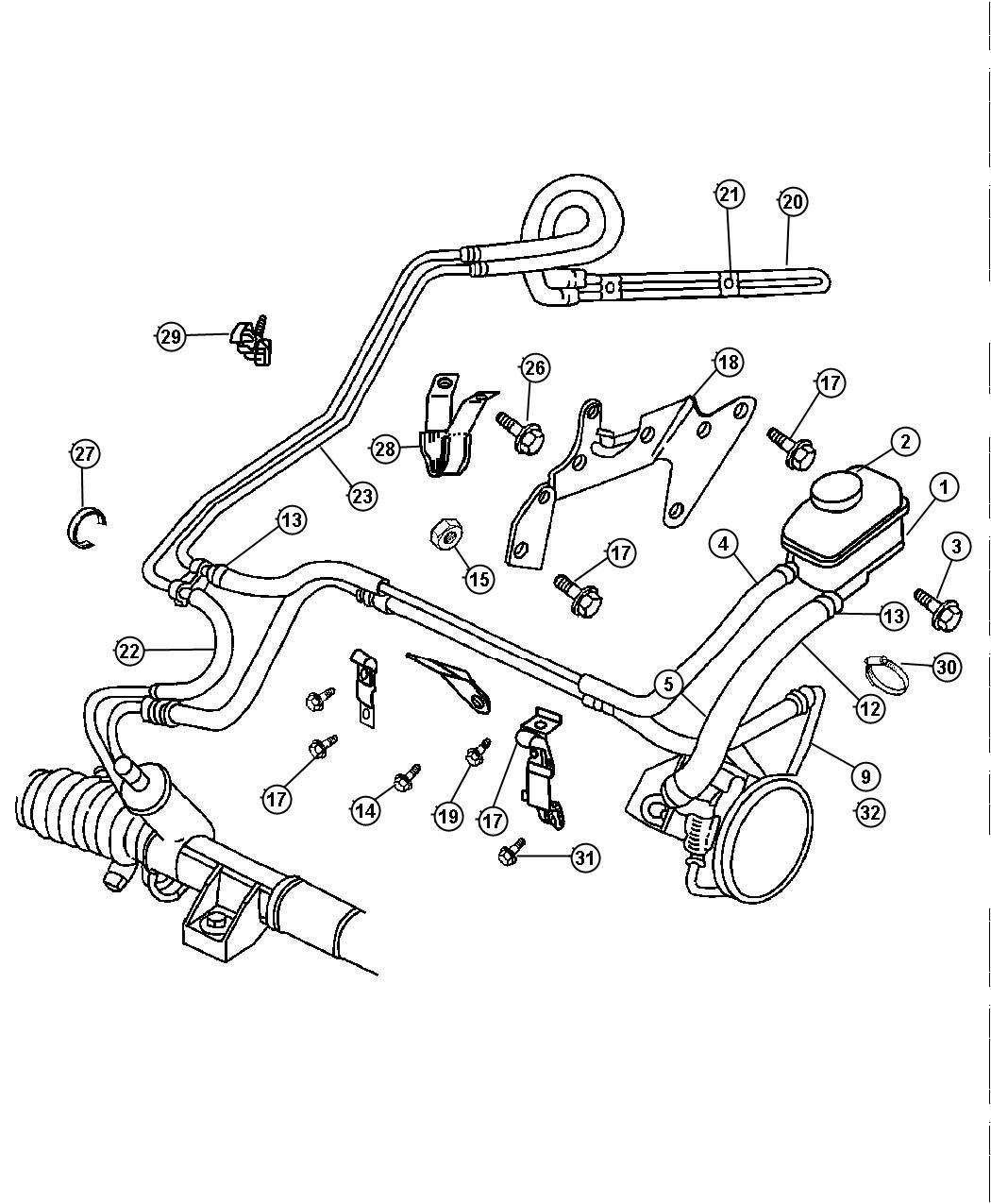 Chrysler Cirrus Hose Power Steering Pressure Pump To