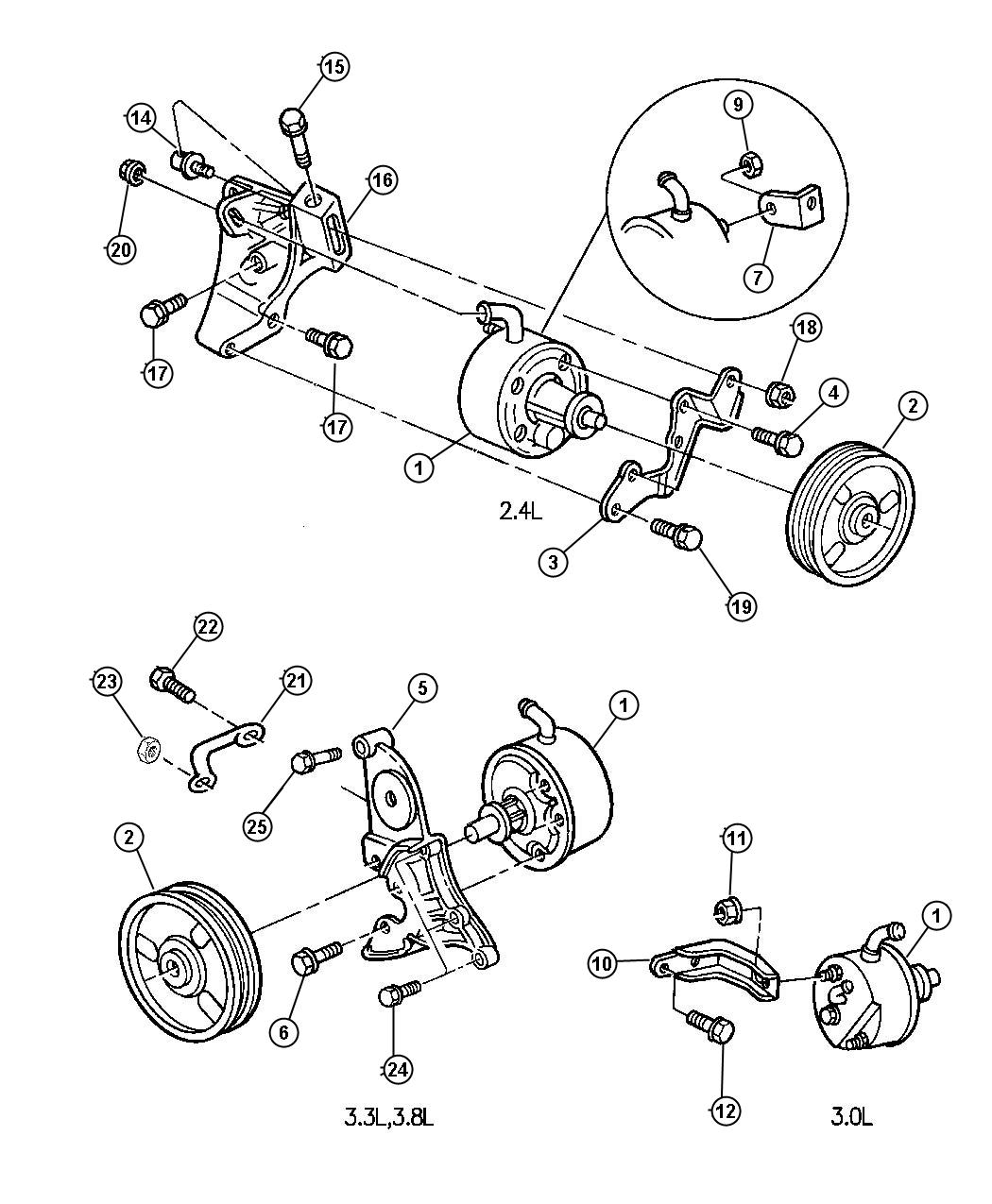 Chrysler Town Amp Country Pulley Power Steering Pump 6 V