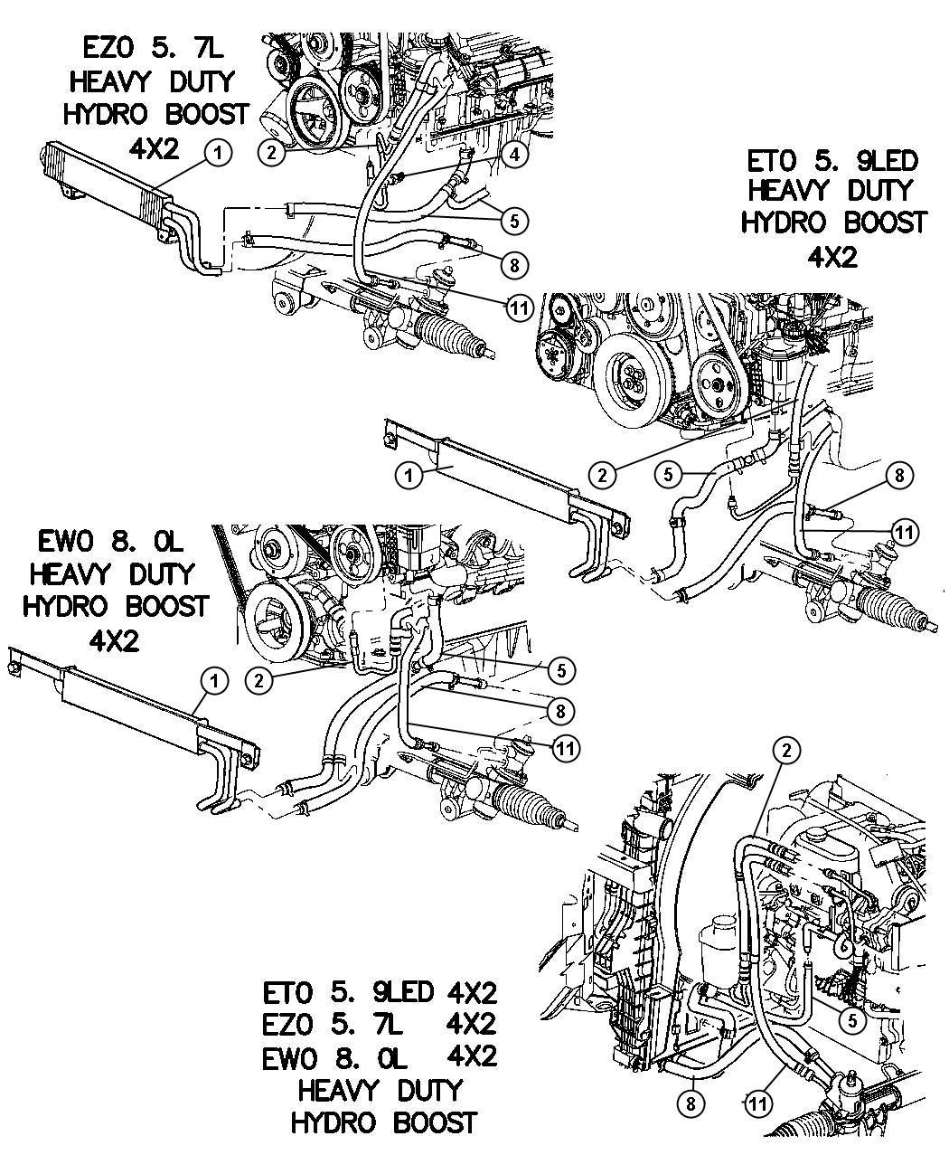 Dodge Ram Hose Power Steering Pressure