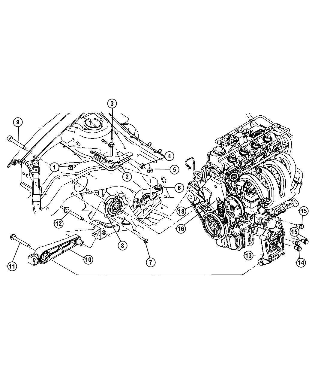 Dodge Neon Isolator Strut Engine Mount Torque Reaction