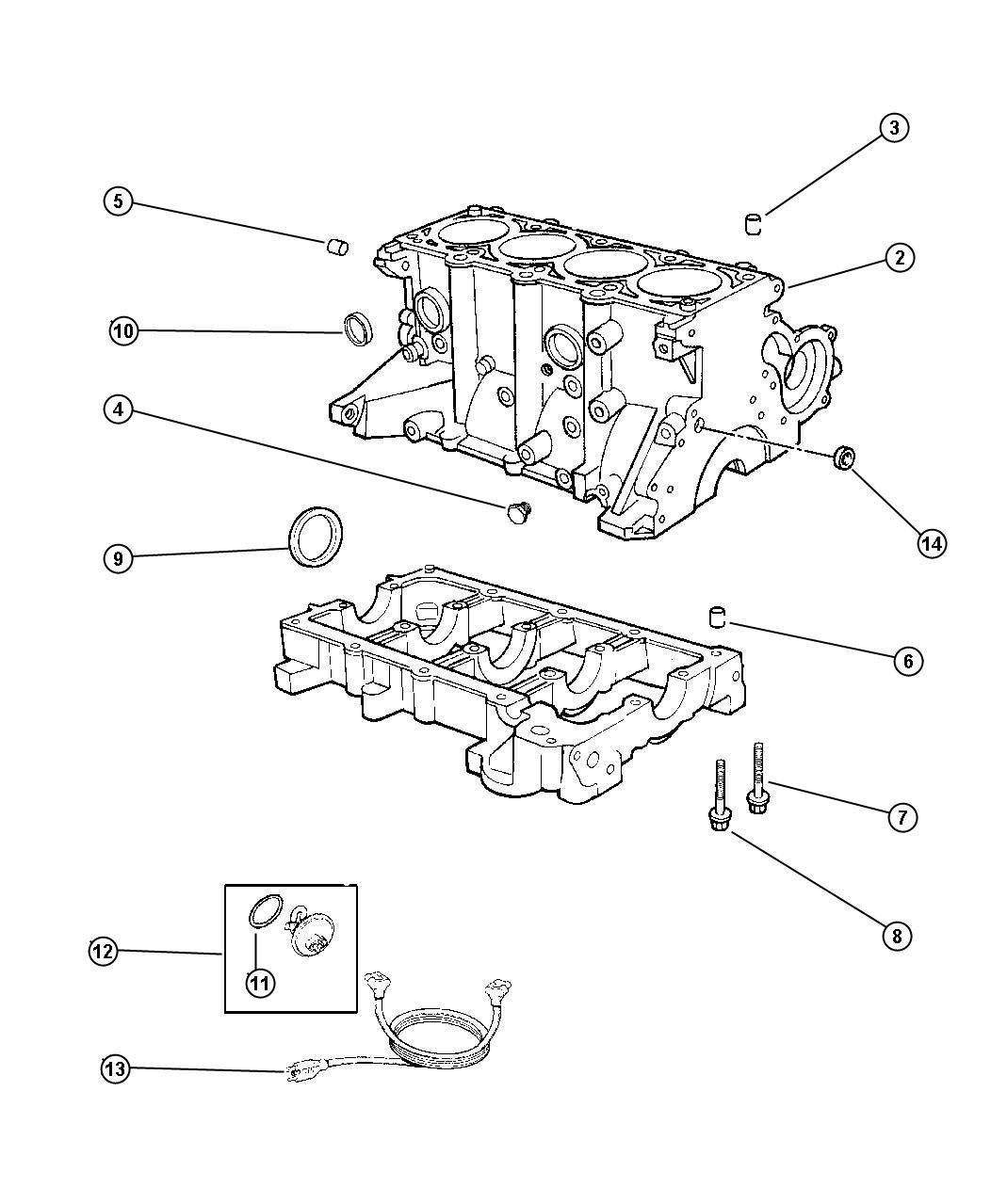 Chrysler Sebring Block Short Cylinder Edz Dohc