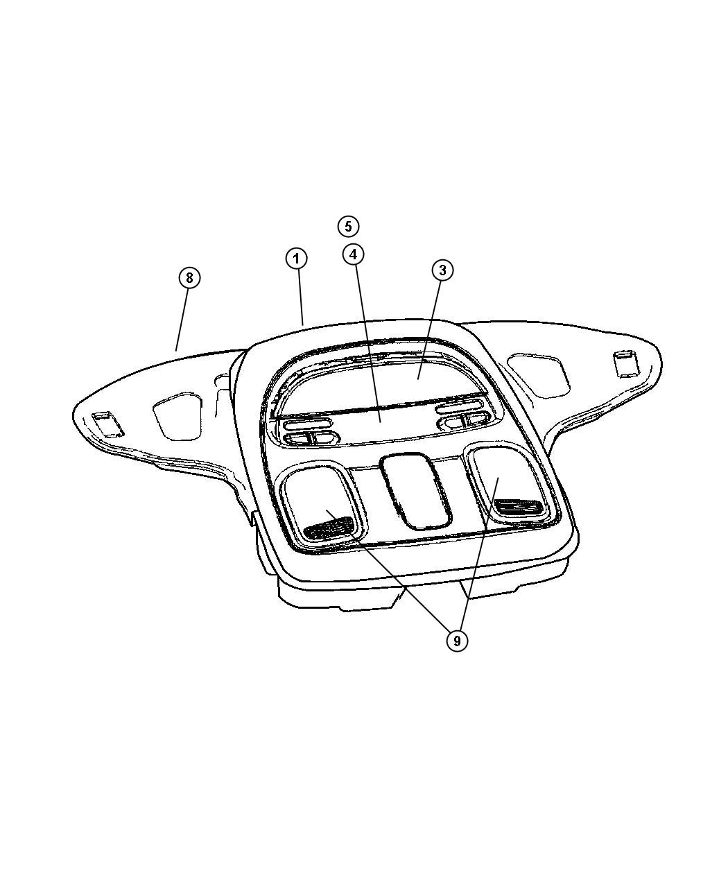 Dodge Ram Lens Reading Lamp Overhead Console Right