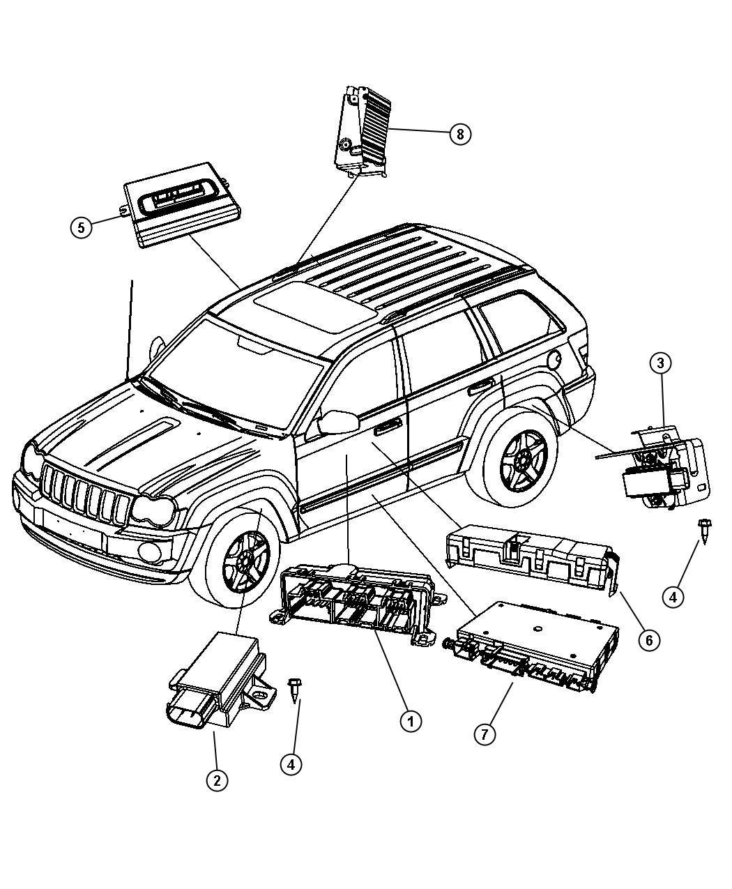 Jeep Grand Cherokee Module Tire Pressure Monitoring Rear