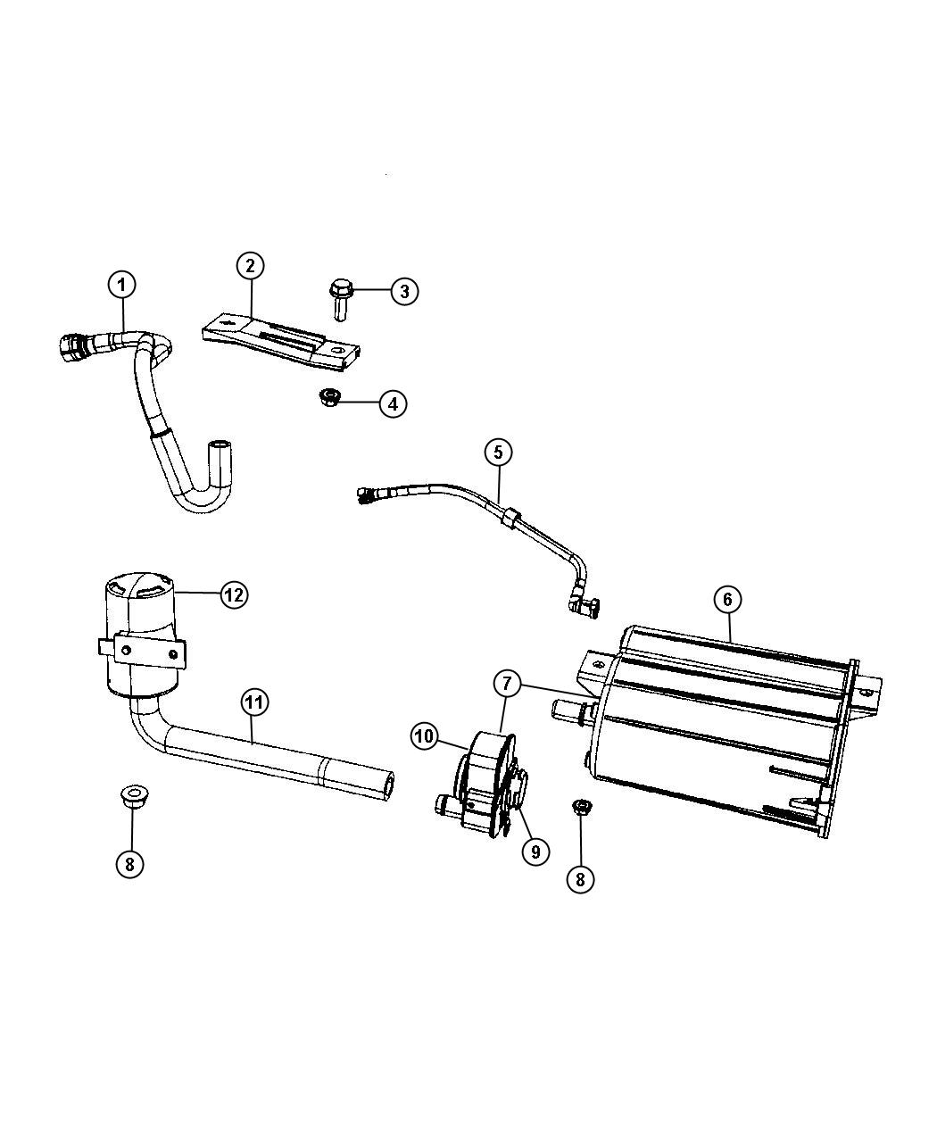 Jeep Compass Hose Fuel Tank Vent Line Fuel Vapor Pump