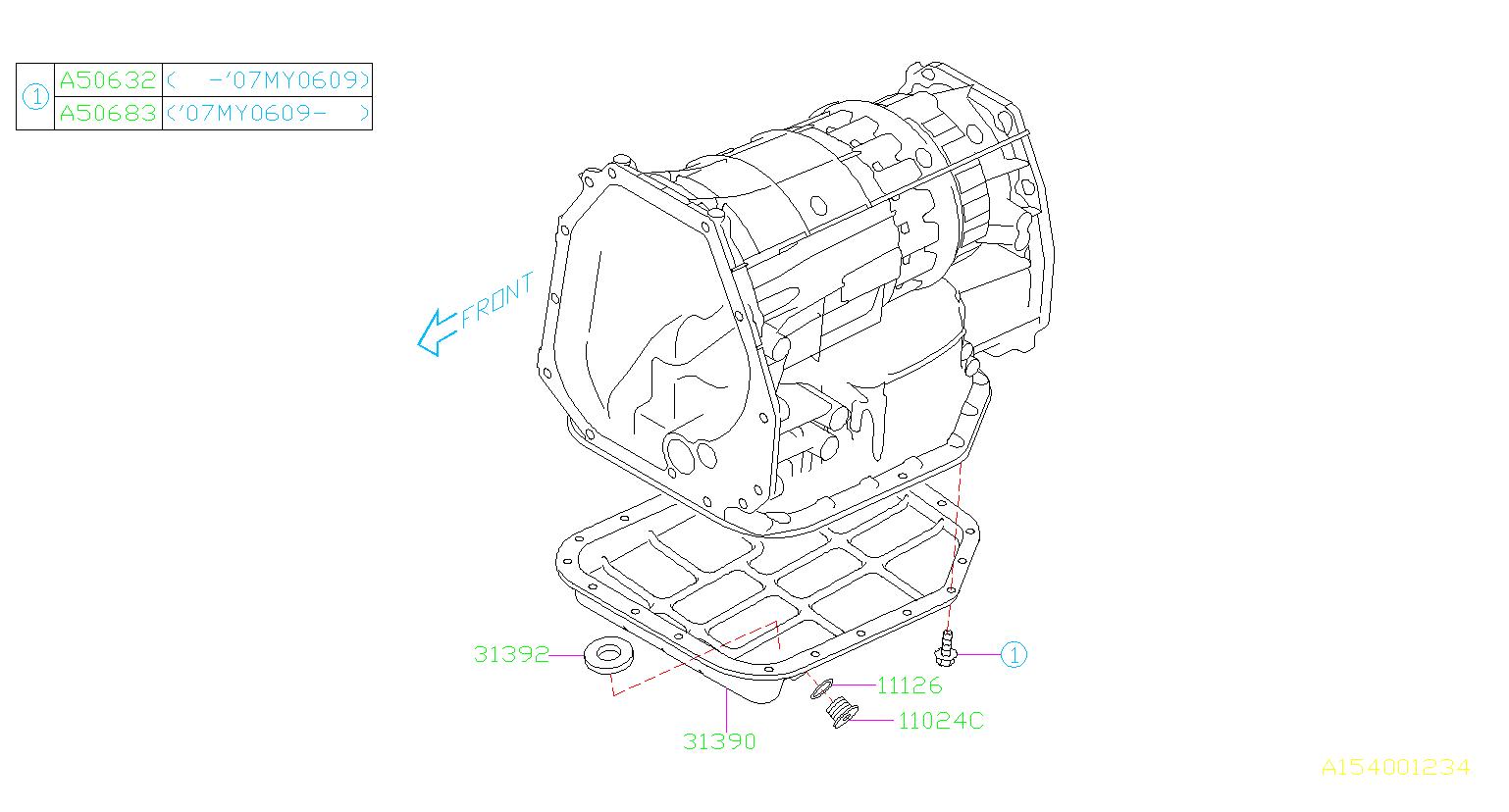 Subaru Legacy Gasket Drain Plug Transmission Case Pan