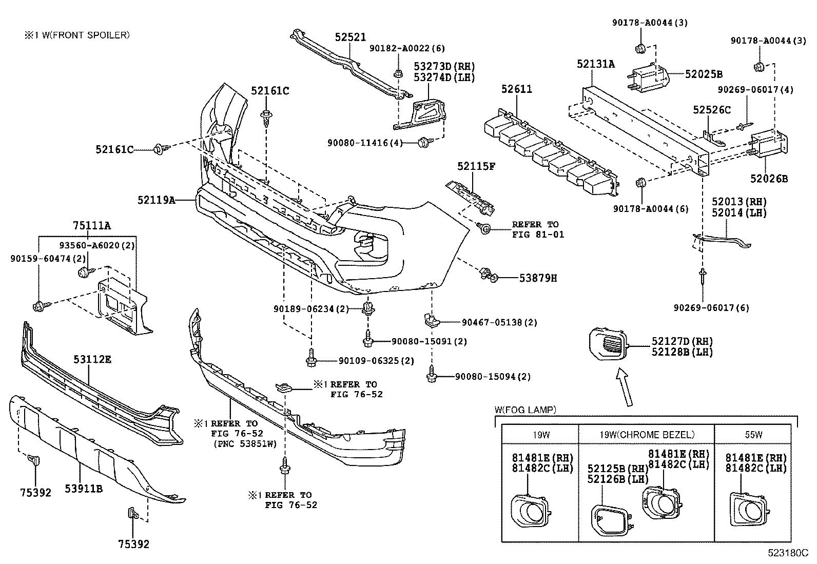 Toyota Tacoma Panel Front Valance Package Lamp