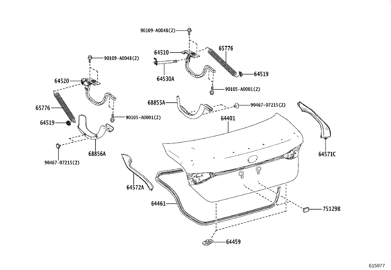 Toyota Avalon Lock Assembly Luggage Compartment Door