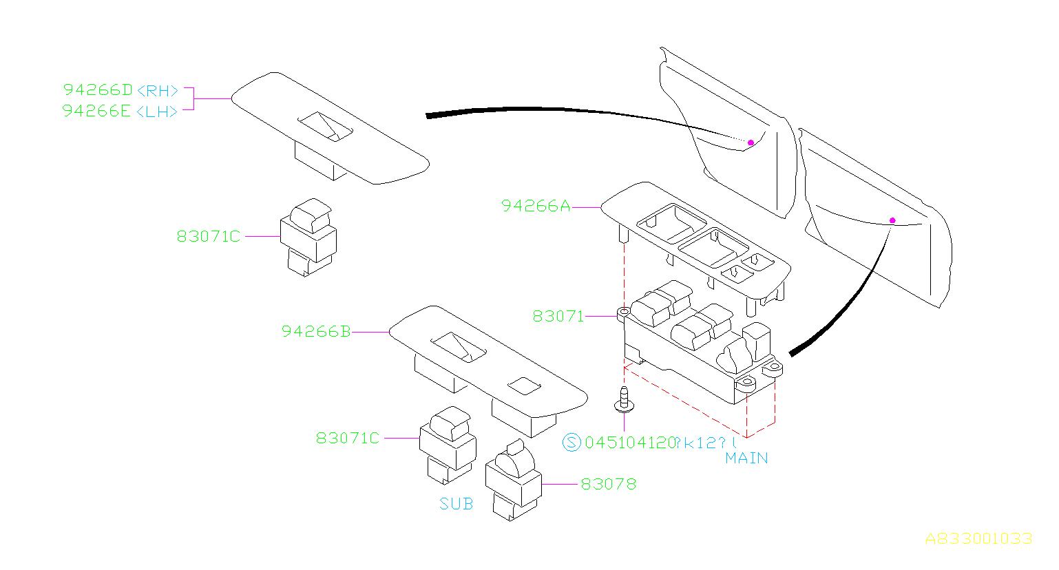 Subaru Impreza Panel Power Window Sub Switch Rear Rh