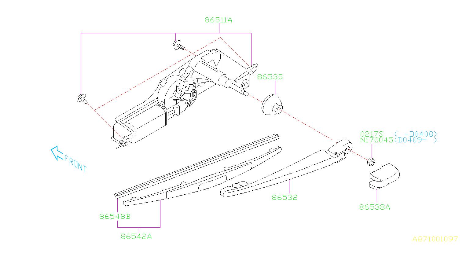 Subaru Impreza Rubber Assembly Rear Wiper