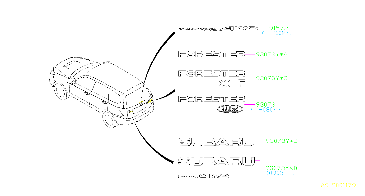 Subaru Forester Label Rear Window Mark Letter Body