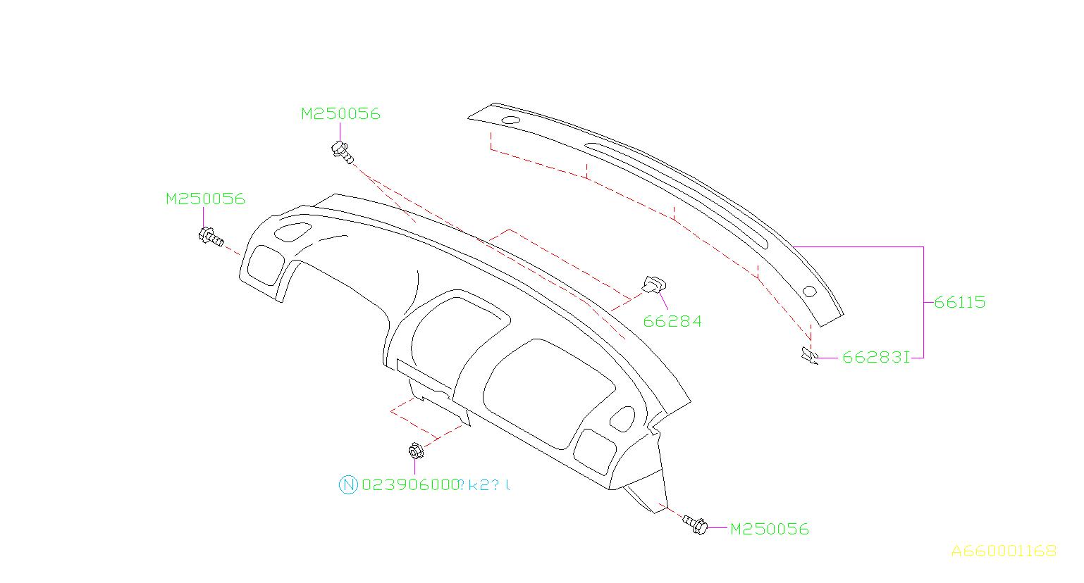 Subaru Impreza Clip Grille Front Panel Instrument