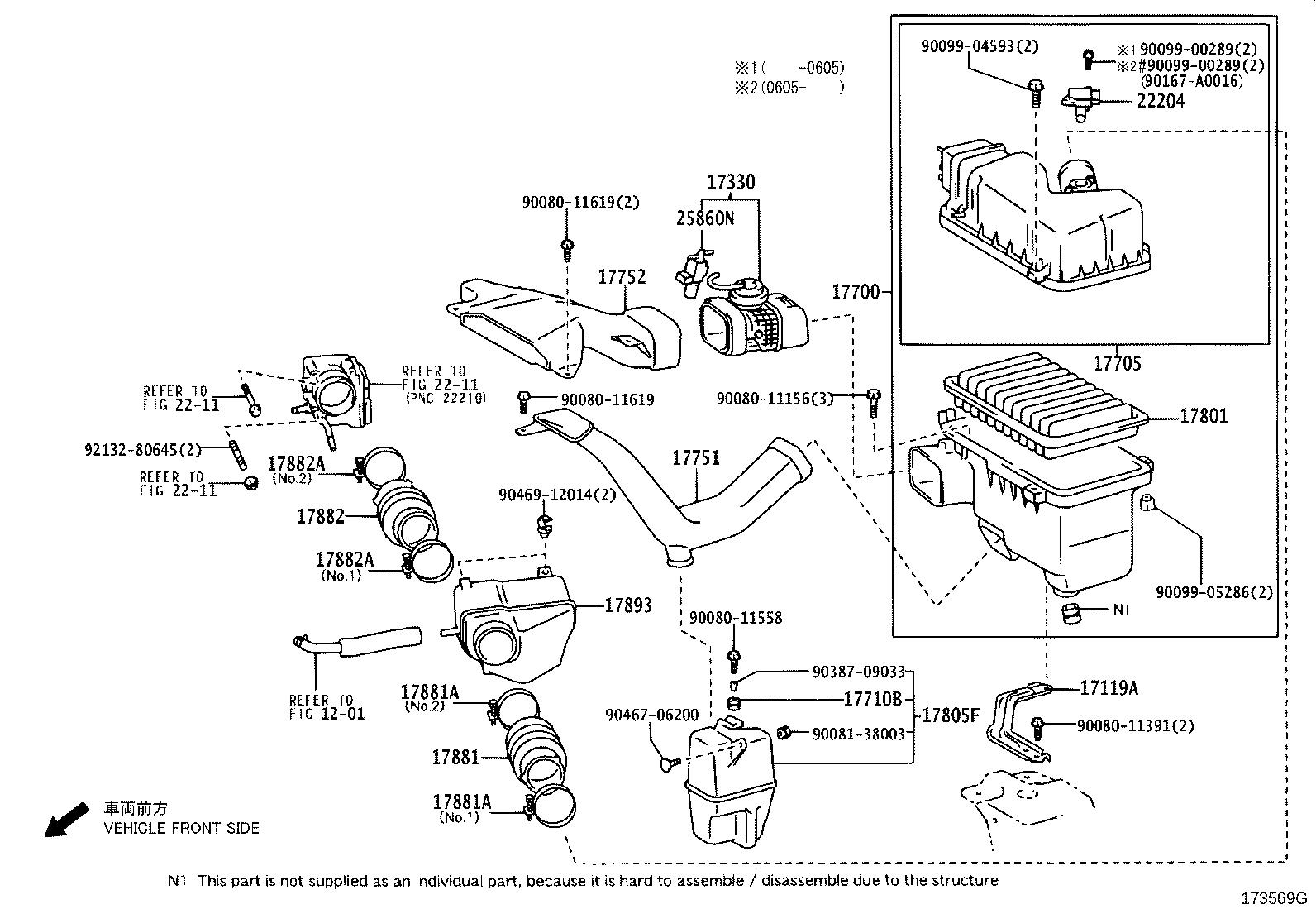 toyota sienna cleaner assembly air with engine