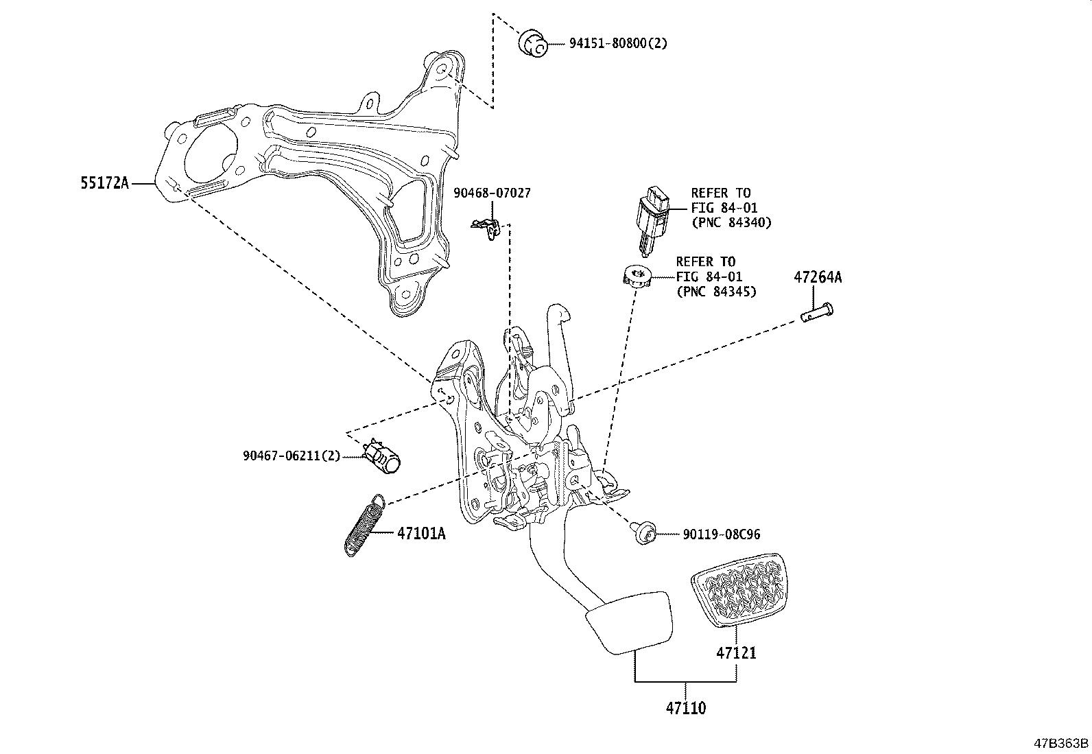 Toyota Rav4 Support Assembly Brake Pedal Suspension