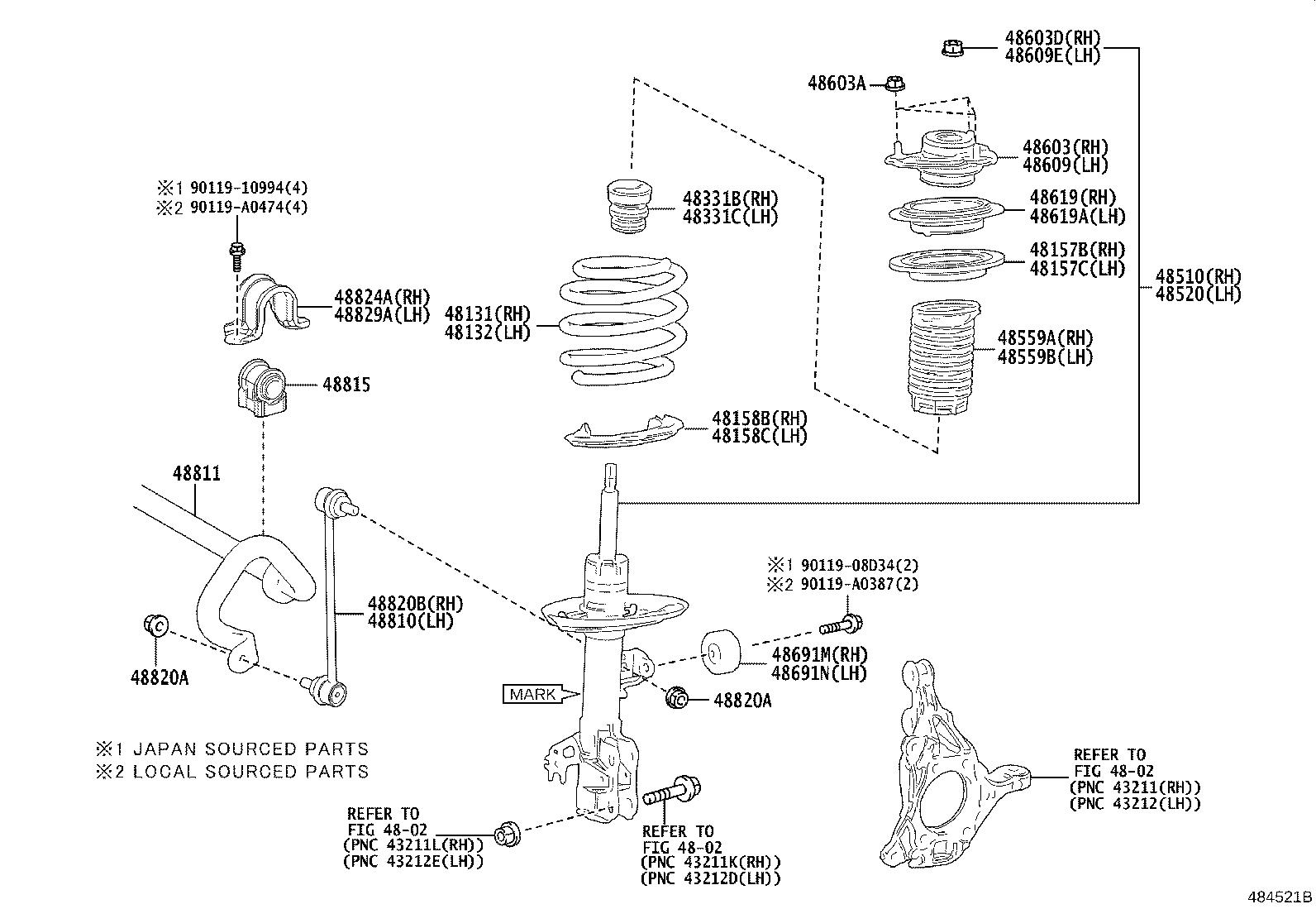 Toyota Camry Spring Front Coil Left Front Coil Right