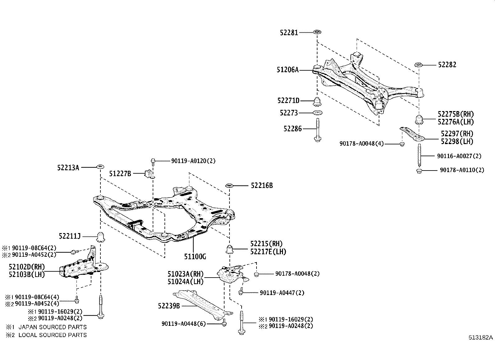 Toyota Camry Suspension Subframe Crossmember Rear Under