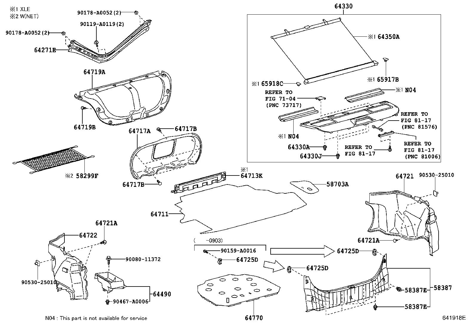 Toyota Camry Package Tray Trim Grege Panel Package Tray