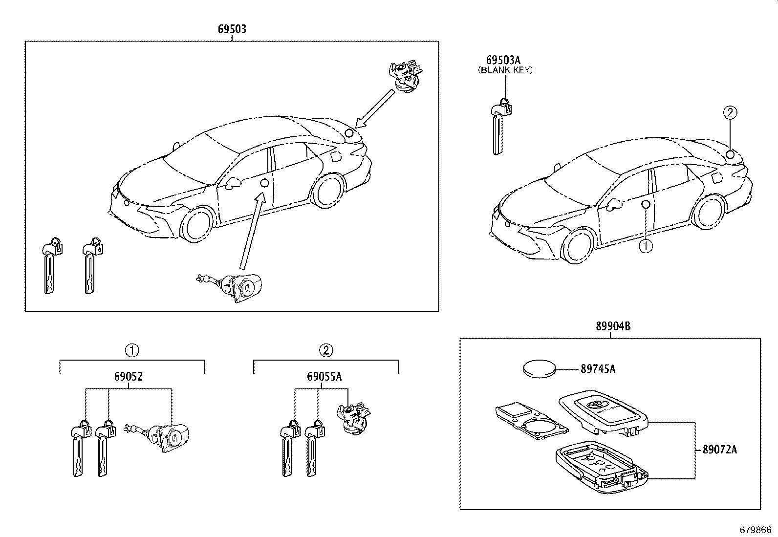 Toyota Avalon Trunk Lock Cylinder And Key Cylinder And