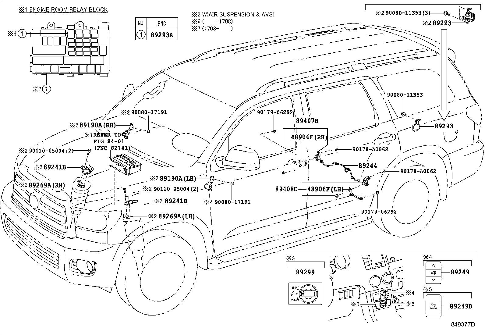Toyota Sequoia Air Suspension Switch Switch Absorber