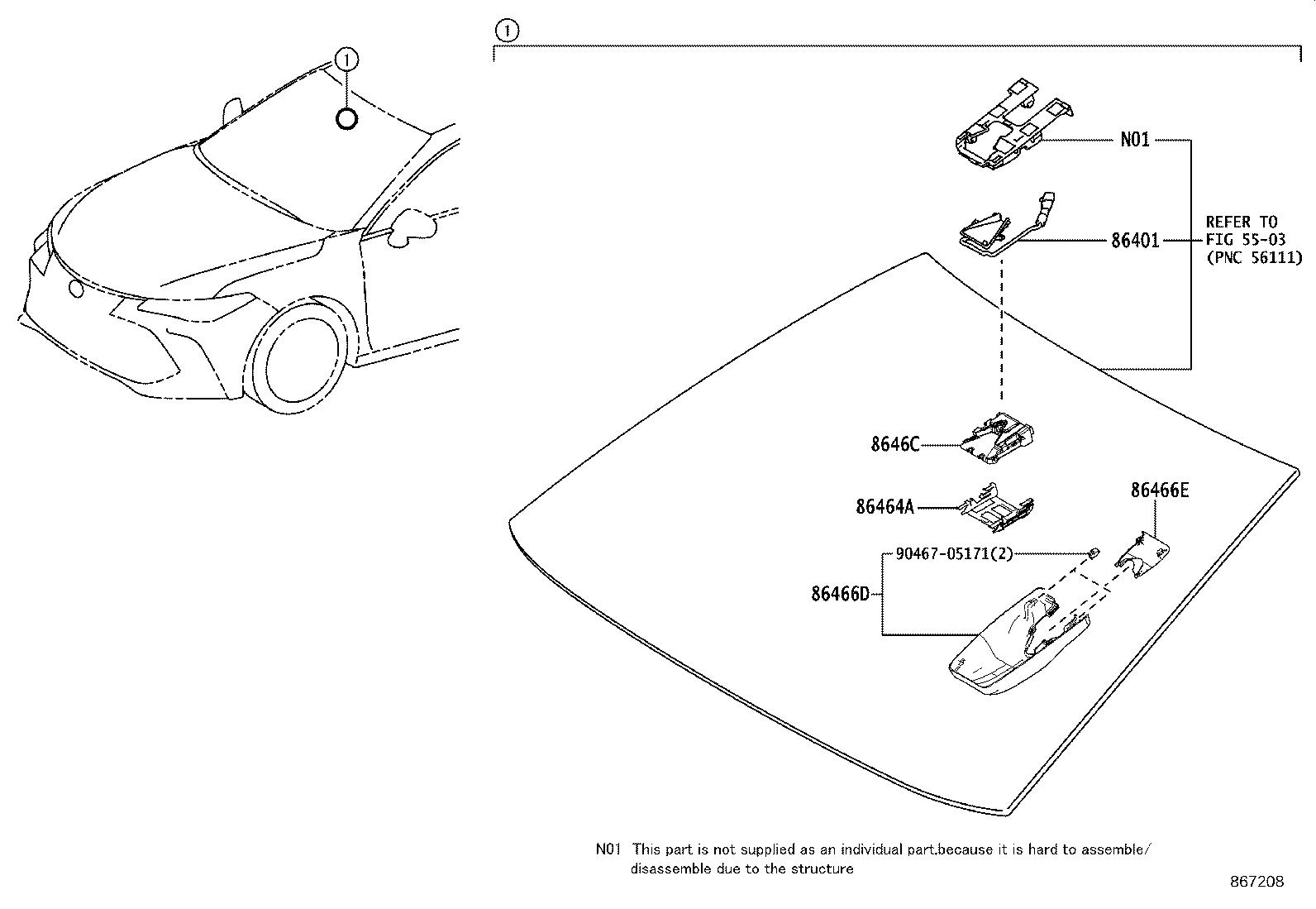 toyota avalon hood sub assembly forward recognition with heater