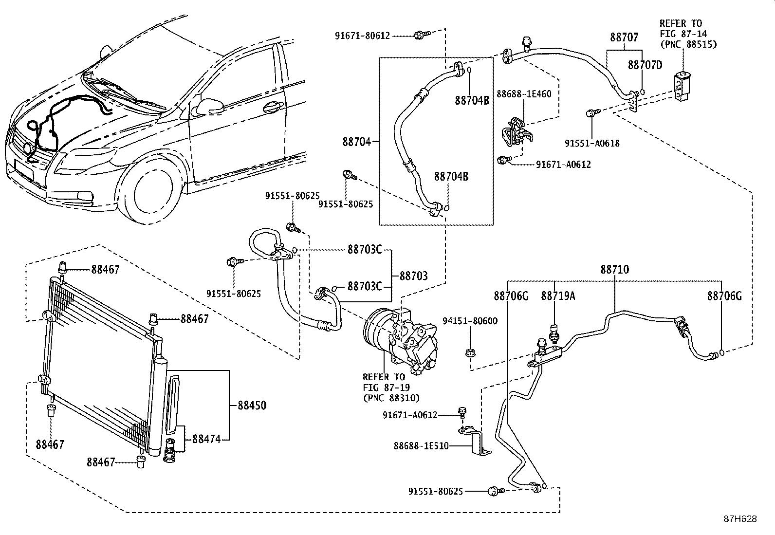 Toyota Corolla Condenser Assembly With Receiver Air