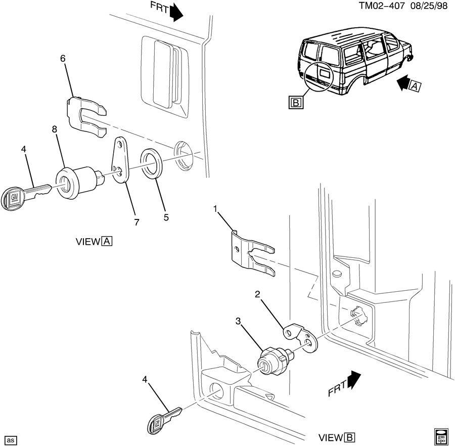 Gmc sliding door parts