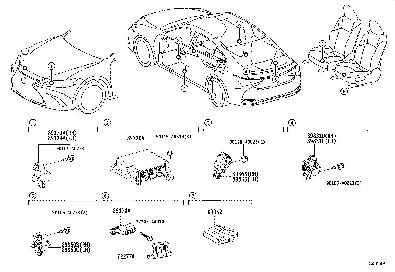 Lexus Es 300h Air Bag Impact Sensor Left Right