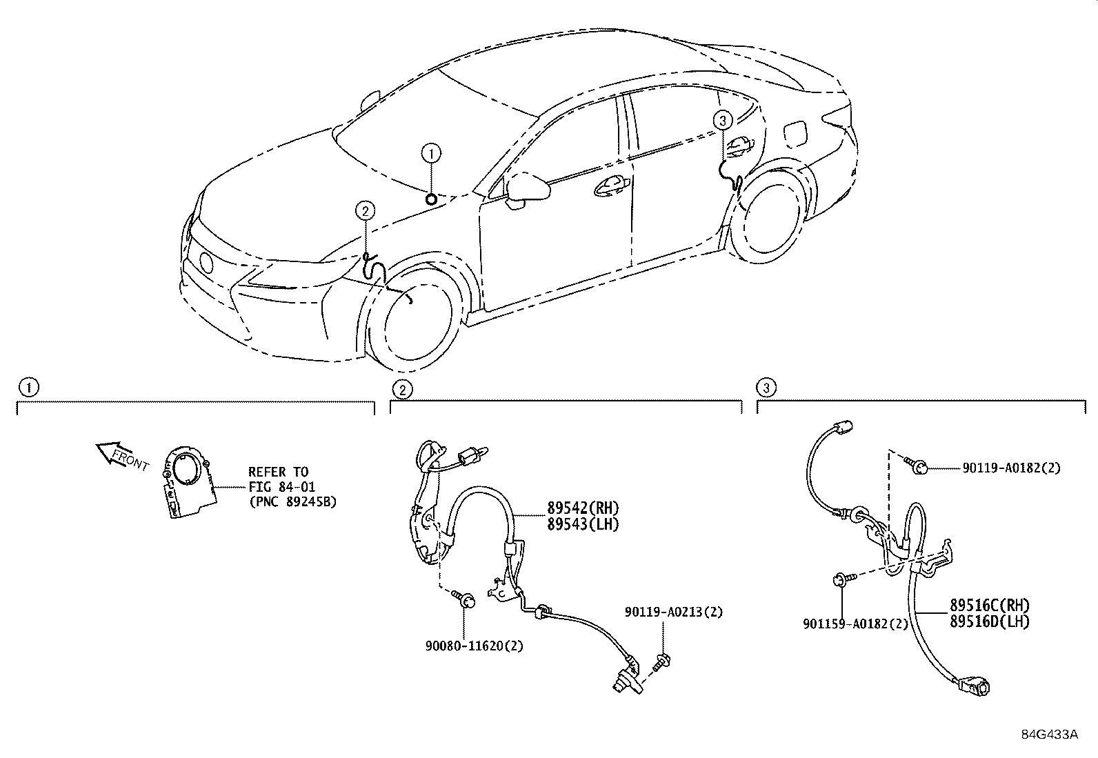 Lexus Es 350 Abs Wheel Speed Sensor Wiring Harness Right