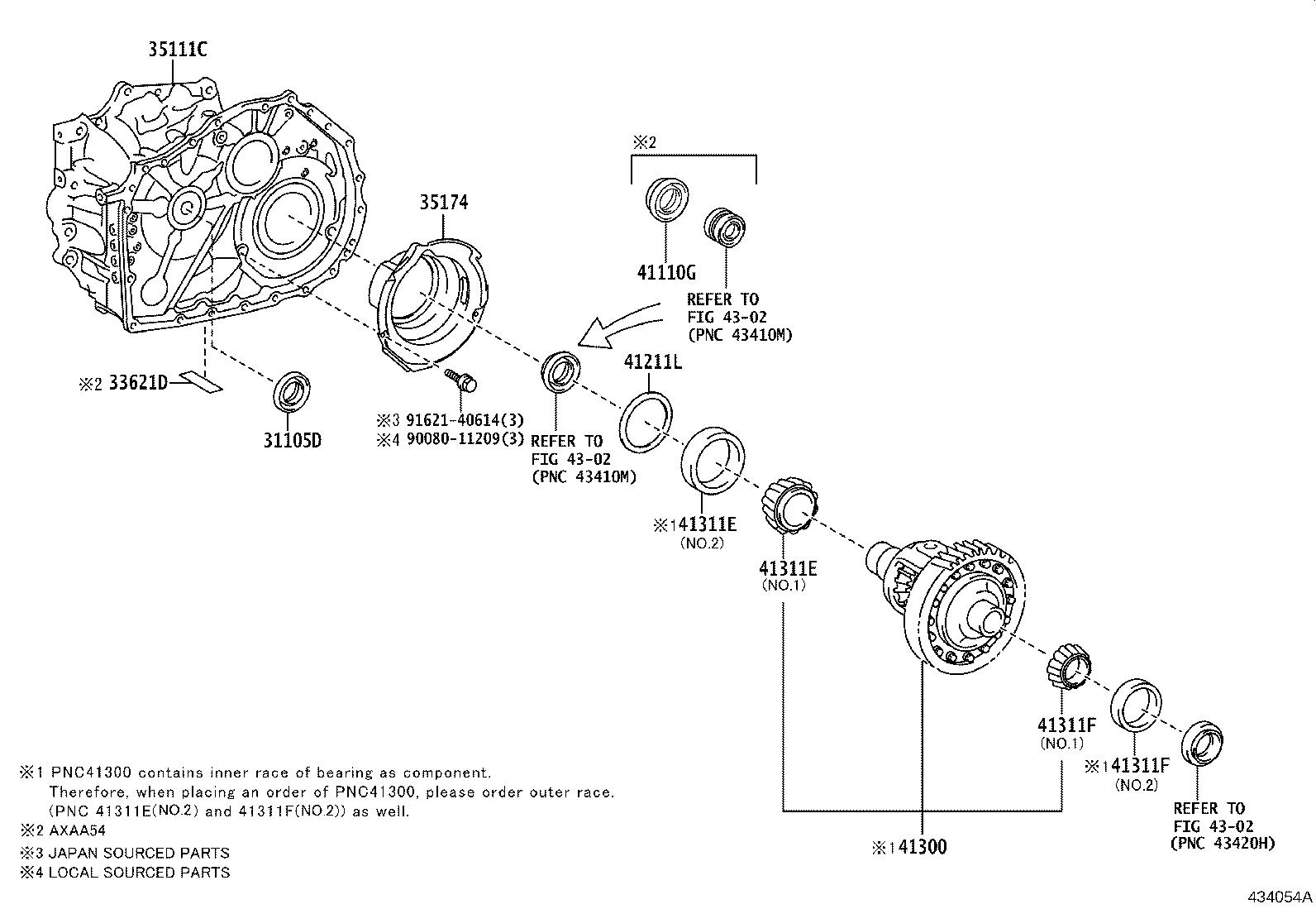 Toyota Rav4 Automatic Transmission Differential Bearing